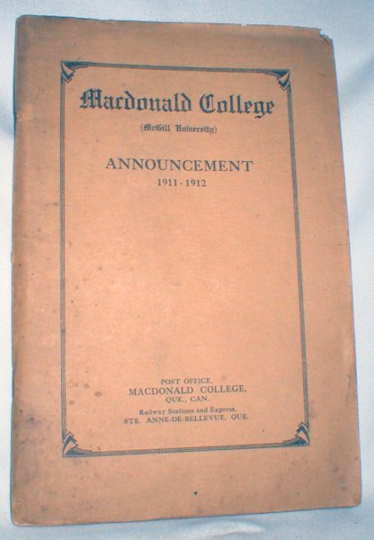 Image for Macdonald College (McGill University) Fifth Announcement 1911-1912