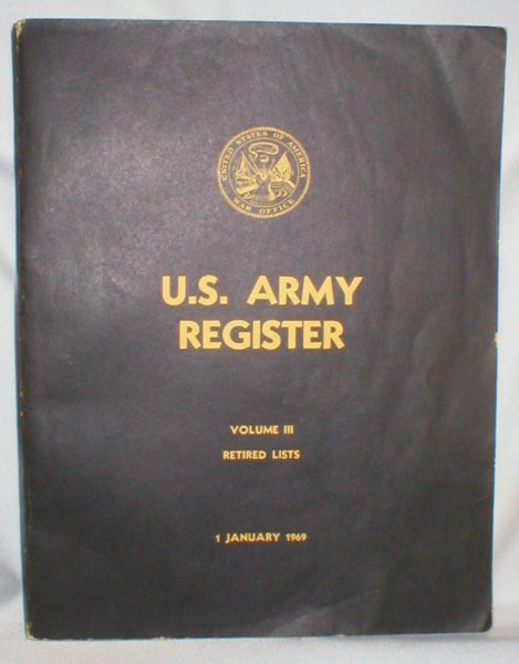 Image for U.S. Army Register, Vol. III; Retired Lists