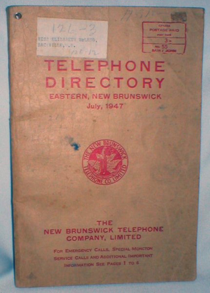 Image for Telephone Directory, Eastern New Brunswick; July, 1947