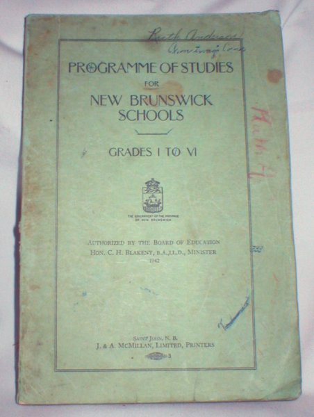 Image for Programme of Studies for New Brunswick Schools, Grades I to VI