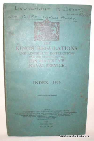 Image for The King's Regulations and Admiralty Instructions for the Government of His Majesty's Naval Service; Index 1936