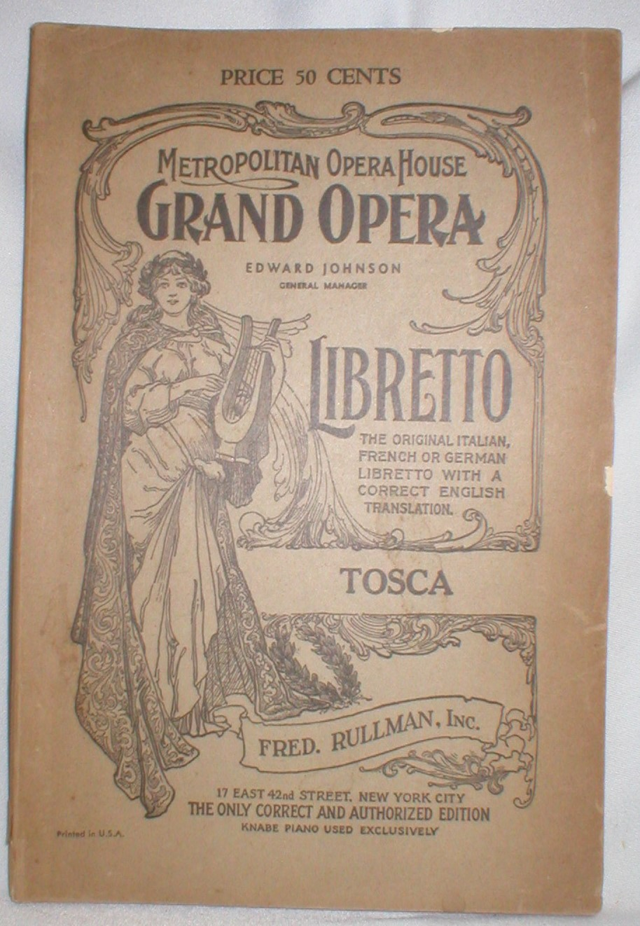 Image for Tosca; An Opera in Three Acts