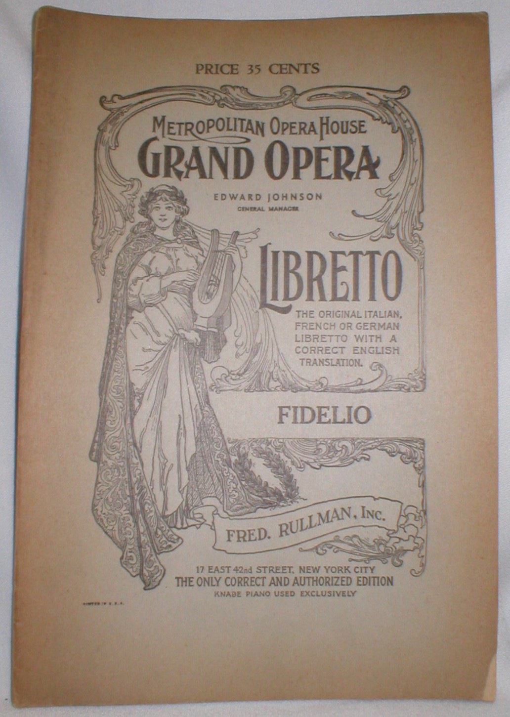 Image for Fidelio, an Opera in Two Acts