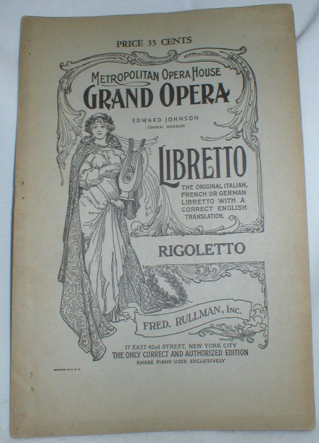 Image for Rigoletto; An Opera in Four Acts